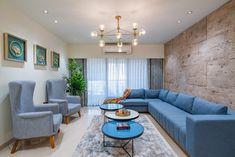 Flat Interior, Apartment Interior Design, Room Interior, Living Room Designs India, Stone Panels, Blue Curtains, Living Room Sofa, Living Rooms, Farmhouse Bedroom Decor