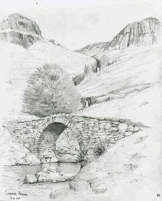 37 Stone And Rock Pencil Drawing Ideas - Art Pencil Sketches Landscape, Landscape Drawings, Pencil Art Drawings, Art Drawings Sketches, Sketch Painting, Watercolor Sketch, Bridge Drawing, Nature Sketch, Scenery