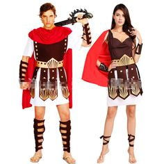 Halloween Ancient Roman Warrior Gladiator Costume for Couples