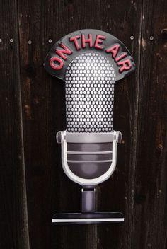 ON THE AIR MICROPHONE = Recording Studio RADIO STATION DJ Music = TIN METAL SIGN