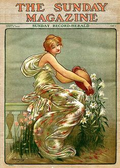 Art Nouveau illustration on cover of The Sunday Magazine, April 1900.