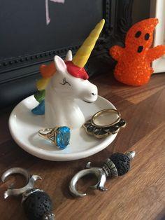 Rainbow Unicorn Head Ceramic Trinket Dish