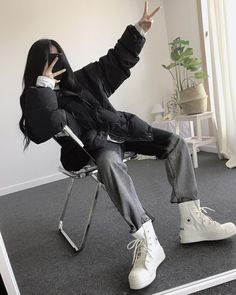 Edgy Outfits, Korean Outfits, Grunge Outfits, Cute Casual Outfits, Fashion Outfits, Korean Girl Fashion, Tomboy Fashion, Style Fashion, Aesthetic Fashion