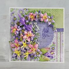 Climbing Clematis, Heartfelt Creations Cards, Purple Ribbon, Flower Center, Paper Decorations, Greeting Cards Handmade, Green And Purple, Card Sizes, Creative Inspiration