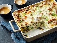 Recipe of the Day: Yes, You Should Be Eating Lasagna for Breakfast Sheets of lasagna noodles aren't just friends with marinara and cheese. In fact, our made-for-morning bake uses the noodles to join layers of sausage gravy, three cheeses and spinach, creating a comforting wake-up treat that's best assembled the night before.
