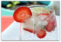 one can of sparkling lime La Croix water [or lemon-lime soda]   1-2 shots of strawberry vodka, chilled  as many slices of fresh strawberry and lime as you can fit in the glass!      slosh. stir. and serve over ice. Sounds like an alcoholic drink I would actually drink.