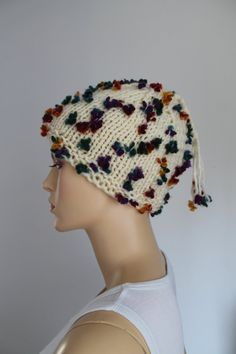 Butterflies Ivory Hand Knitted Hat for Women for от lucylev