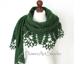 Knitted and Crocheted green shoulder shawl, wrap for brides. It will be a beautiful and warm wedding accessory what will warm your shoulders, but will not affect your hairstyle because owed around the shoulders. Enjoy the comfort and look elegant and beautiful. After the wedding you could wear everyday as a scarf. Brooch is just a sample, it is NOT for sale. Now 2 sizes are available,for ladies with more narrow shoulders 2 m/ 79 in inches and for ladies with wider shoulders 2.3 m/ 90.5 in inches Bridal Shawl, Bridal Cape, Wedding Hair Clips, Wedding Wraps, Crochet Shawl, Knit Crochet, Crocheted Lace, Wedding Shrug, Wedding Shawls