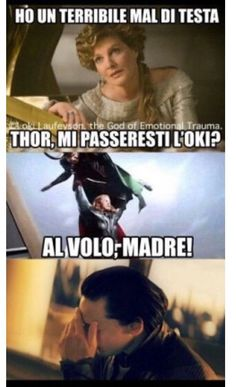 Da tempo conoscevo i figli del re di Asgard, Thor e Loki, ma quest'ul… I had known the sons of the king of Asgard, Thor and Loki for some time, but the latter . Funny Images, Funny Pictures, Italian Memes, Short Jokes, Scandal Abc, Marvel Memes, Best Memes, Funny Posts, Bad Boys