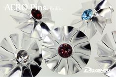 Brillio AERO Pins - The highest quality lapel pin badge using big drop SWAROVSKI crystals with machined solid pin badge using latest aerocraft 5 axis machining technologies!