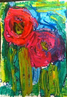 paint art on ATC by kat gottke ,22.1.2015