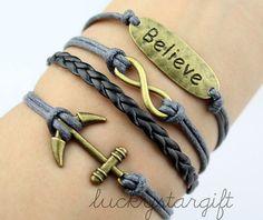 Cool anchor infinite trust & bracelet is gray line black leather woven novel bracelet charm bracelet with fashion-Q318 by luckystargift, $4.89