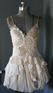 How beautiful is this doily dress by Armour Sans Anguish? I love how she's layered doilies for the bodice. The bottom seems to be a bubble h...