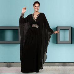 Negro caftán Marocain Abaya islámico en Dubai de noche vestidos mujer de manga…