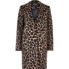 Brown leopard print wool overcoat £80.00