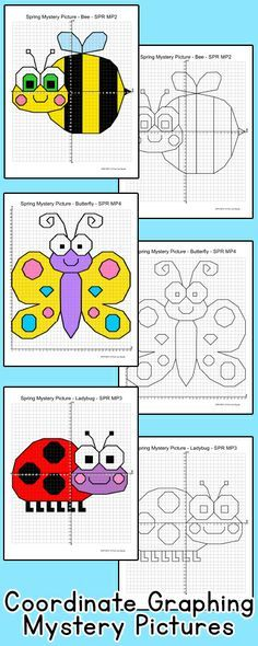 Practice plotting ordered pairs with these fun coordinate graphing Spring theme mystery pictures! A bee, butterfly, ladybug and a flower are included. Great for math centers, homework and early finishers. By Pink Cat Studio