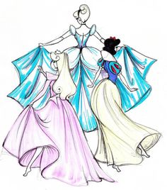 If I ever have a little girl, I want to decorate her room with these type of princess sketches.