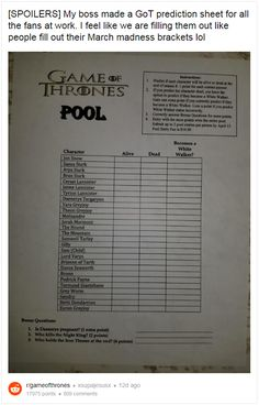 Genius Boss Creates Game of Thrones Season 8 Death Pool Contest Source by graysocks
