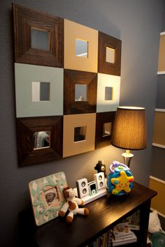 Great mirror art... They're from Ikea and just painted to match the room colors.