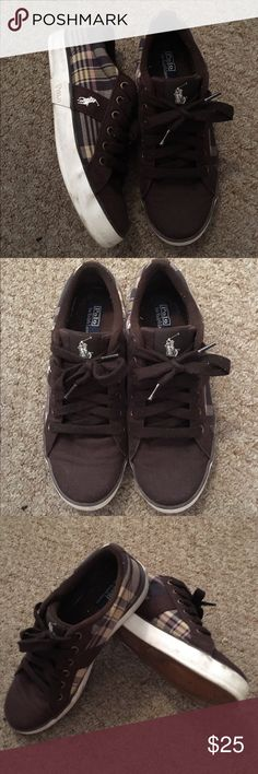 Ralph Lauren Polo Plaid Sneakers Size 5 boys Size 7 women. Brown canvas sneakers. Plaid patter has shades of brown and neutral tones as seen in pics. Worn only a handful of times. Good condition. Polo by Ralph Lauren Shoes Sneakers