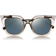 Fendi Embellished cat eye acetate mirrored sunglasses ($430) found on Polyvore featuring accessories, eyewear, sunglasses, glasses, occhiali, neutrals, retro cat eye sunglasses, mirror lens sunglasses, mirrored sunglasses and retro mirrored sunglasses