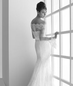 """Gorgeous delicate """"back action"""" on this stunning off the shoulder vintage lace wedding gown.  One of my very favorites."""
