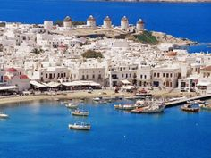 Aerial View of Mykonos, Hora and Harbour, Cyclades, Greek Islands, Greece, Mediterranean