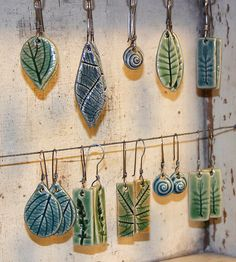 Leaf earrings w/ sterling wires Ceramic Pendant, Ceramic Clay, Ceramic Beads, Ceramic Pottery, Slab Pottery, Porcelain Jewelry, Ceramic Jewelry, Resin Jewelry, Jewelry Rings