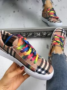 Buy shoes Colorful Lace-Up Plaid Print Casual Sneakers Womens Fashion Sneakers, Womens Fashion For Work, Fashion Shoes, Women's Fashion, Fashion Spring, Online Shopping Shoes, Shoes Online, Athletic Fashion, Buy Shoes