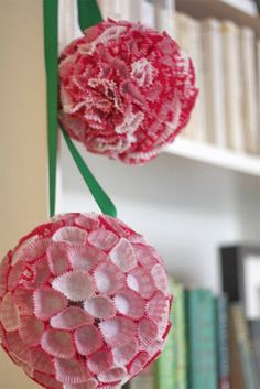 Cupcake Liner PomPoms... So easy and so cute for party decor!!!