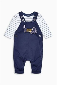 *BOUGHT* Buy Navy Dog Twill Dungarees And Bodysuit Set (0mths-2yrs) from the Next UK online shop