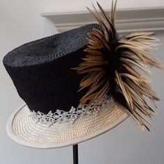Black and cream mini topper perfect for a day at the races Race Day, Therapy, Cream, Mini, Hats, Accessories, Black, Fashion, Creme Caramel
