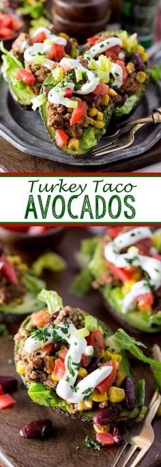 Turkey Taco Avocados are a fun twist on your favorite tacos, and are lightened up with ground turkey. yum!