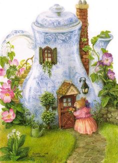 Artist Susan Wheeler - a fairy-type house made from a teapot - Adorable! Inspiration for a fairy garden: old teapot, windows door from miniature house kits. Susan Wheeler, Art And Illustration, Rabbit Illustration, Illustration Animals, Animal Illustrations, Lapin Art, Art Fantaisiste, Art Mignon, Bunny Art