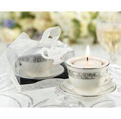 Teacups and Tealights Miniature Porcelain Tealight Holders #bridalteafavors