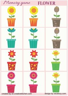 Matching game is a concentration-style educational memory game for kids and adults to experience the colorful amazing Flowers. Brain Activities, Preschool Activities, Preschool Flower Theme, Games For Elderly, Flower Games, Printable Flower, Circle Game, Memory Games For Kids, Spring Theme