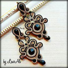 Soutache Tutorial, Earring Tutorial, Soutache Earrings, Ring Earrings, Ballroom Jewelry, Beaded Jewelry, Handmade Jewelry, Bohemian Bracelets, Beaded Embroidery