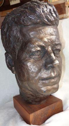 Vintage Fine Bronzed Sculpture John F. Kennedy Inaugural Head Sculpture 1960s