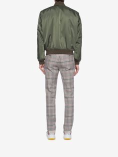 Alexander Mcqueen Painted Rose Bib Bomber Jacket - Military Green
