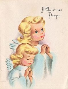 Precious Vintage Angels Christmas Card, Pastels