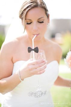 Class up your cocktails with a bow tie straw. #weddings #inspiration #fancy #cocktails