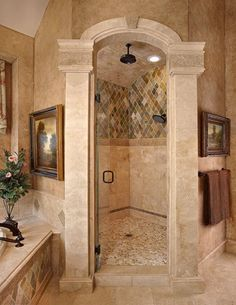 52 Best Popular Mediterranean Bathroom Design Ideas In This Year Mediterranean Bathroom, Bathroom Remodel Shower, Traditional Bathroom, Modern Bathroom, Tuscan Decorating, Mediterranean Bathroom Design Ideas, Tuscan Bathroom, Bathroom Design, Beautiful Bathrooms