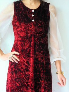 50% OFF SALE... 70's Vintage Crimson Red Crushed by viralthreads