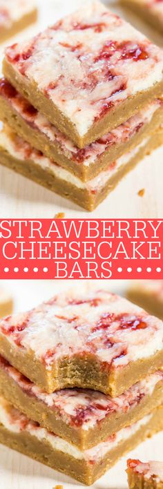 Strawberry Cheesecake Bars - Soft, buttery bars topped with cheesecake and swirled with strawberry jam! The best of all worlds in these fast, easy, and AMAZING bars!!