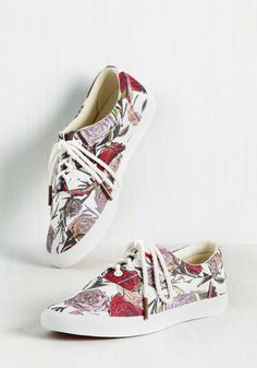 How Does Your Garden Go? Sneakers by BucketFeet - Pink, Red, White, Floral, Casual, Lounge, Athletic, Better, Multi, Saturated, Spring, Lace Up