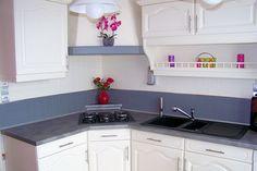 cuisine blanc/gris bleu