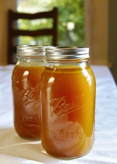 homemade chicken stock. we make this every time we buy a rotisserie chicken--after we strip the meat off, we just throw the bones in the crock pot with the veggies and spices and make this stock! it's so easy and delicious, and freezes well.
