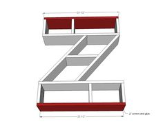 Ana White | Build a Letter Z Shelf | Free and Easy DIY Project and Furniture Plans; fun with any letter!