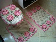 Jogo de banheiro - flores rosa