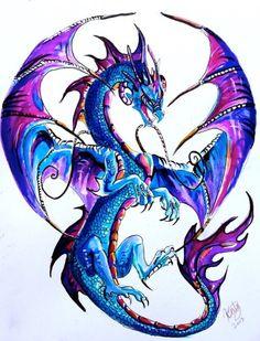 Anazing watercolour dragon tattoo design